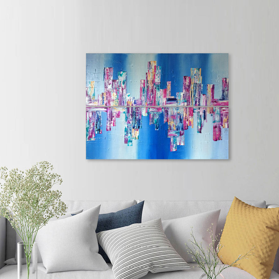 'Summer in the City' abstract diptych cityscape skyline painting on canvas