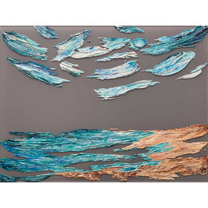 'The Sea Sings' very original contemporary seascape painting on grey plexiglass (perspex glass) by Jayne Leighton Herd