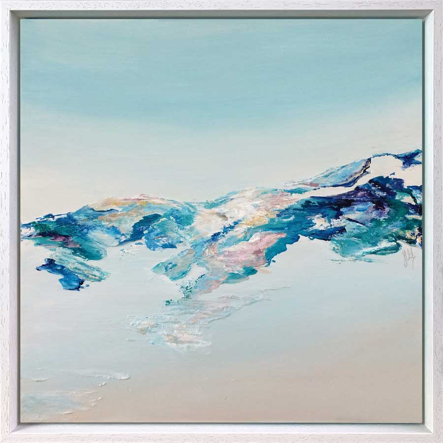 'Tranquillity I': original abstract landscape painting on wood, aerial view, coastline, hills, scotland