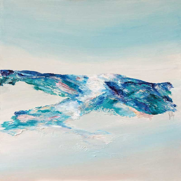 'Tranquillity III': contemporary abstract landscape painting on wood panel, hills, aerial view, coastline, scotland, blue, teal, turquoise