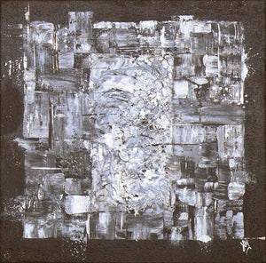 'Achromatic' square artwork on canvas
