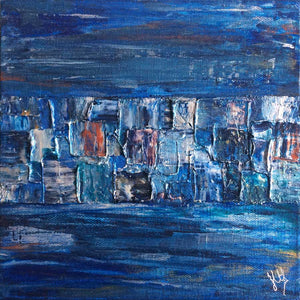 'Horizons II' metallic mini abstract cityscape painting on canvas