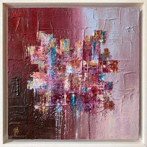 Square pink textured abstract painting on canvas - Candy Floss by Jayne Leighton Herd