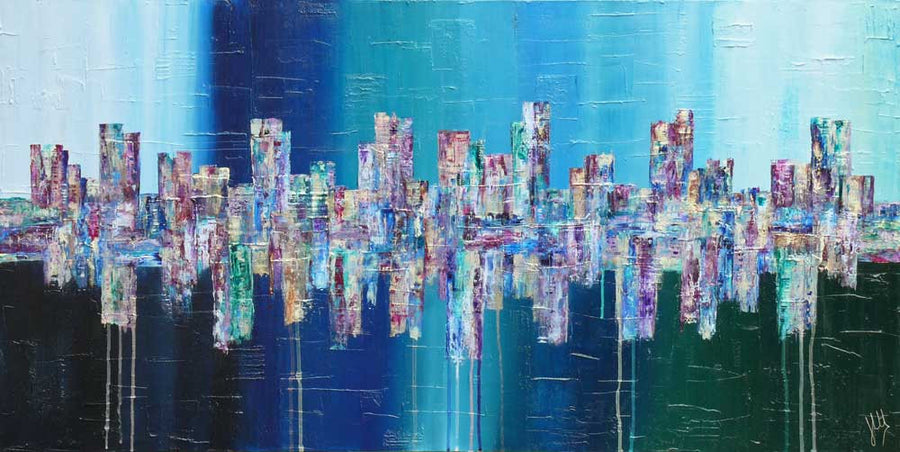 'Deep': original large blue cityscape painting on canvas, city skyline art