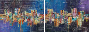 'Fun at the Fair' original diptych painting on canvas