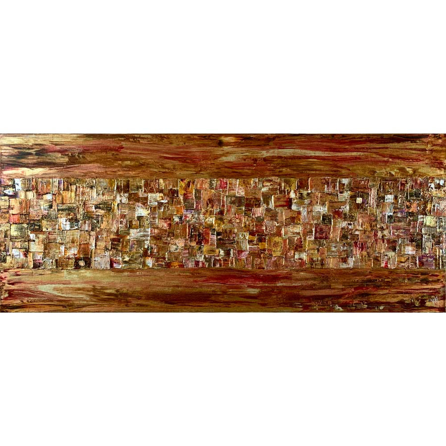 'Horizons II' gold & copper abstract cityscape on 40 x 100 cm canvas