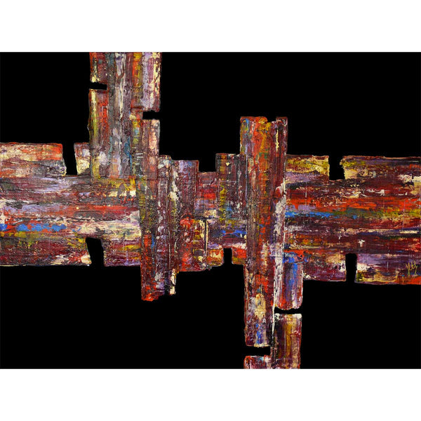 'In the City' abstract painting on black plexiglass