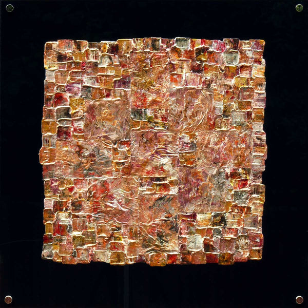 'Interwoven XVII' square painting on black plexiglass