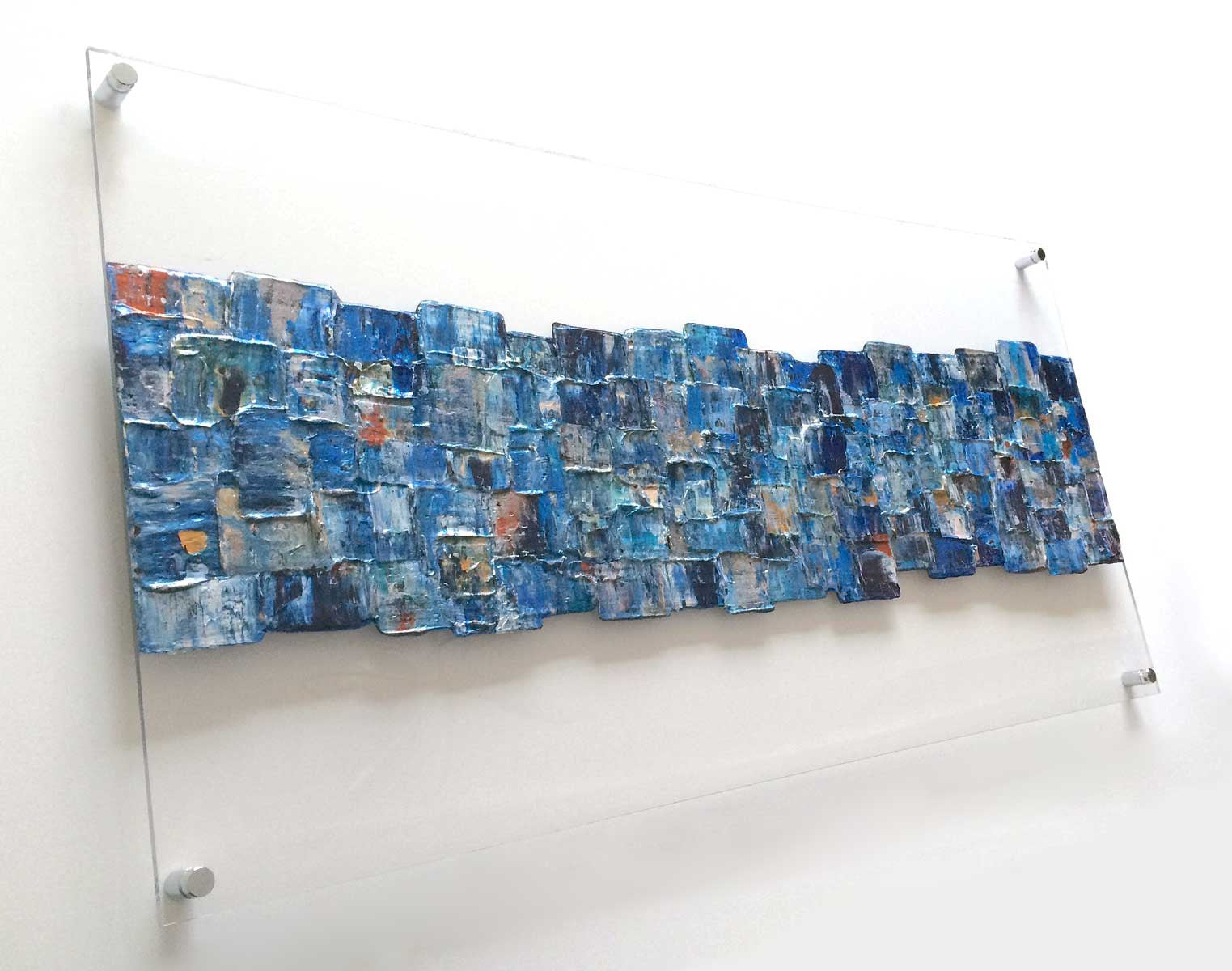 'Interwoven Blue' painting on clear plexiglass