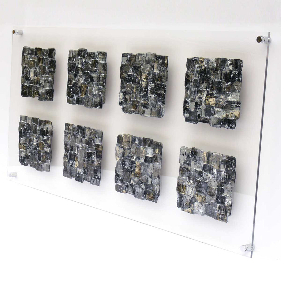 'Interwoven Carrés' painting on clear perspex