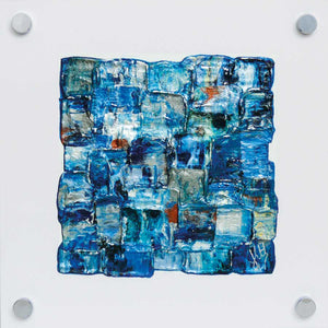 'Interwoven Sea II' small, blue painting on white plexiglass