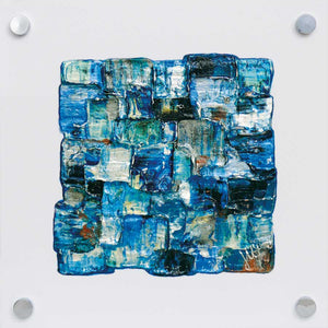 'Interwoven Sea III' small turquoise and blue painting on white plexiglass