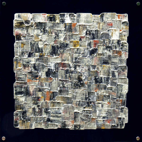 'Interwoven Steel' square abstract on black plexiglass