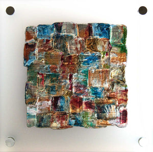 'Interwoven Summer I' small artwork on frosted perspex