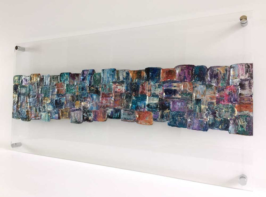 'Interwoven XII' abstract art on clear plexiglass