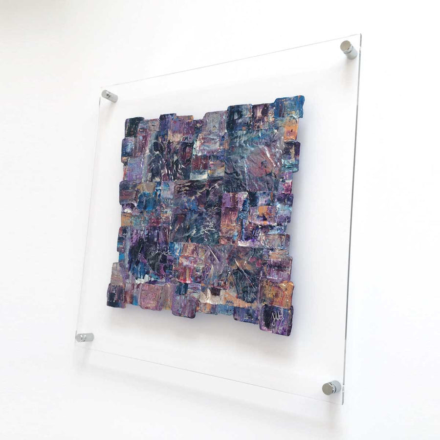 'Interwoven XIII' square painting on clear plexiglass