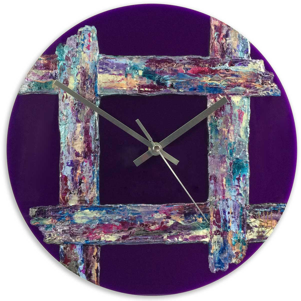 Round 30cm abstract wall clock on purple plexiglass - JLH30ROU3
