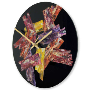 Round 30cm abstract wall clock on black plexiglass - JLH30ROU5