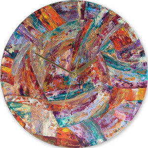 Modern round multicoloured designer wall clock