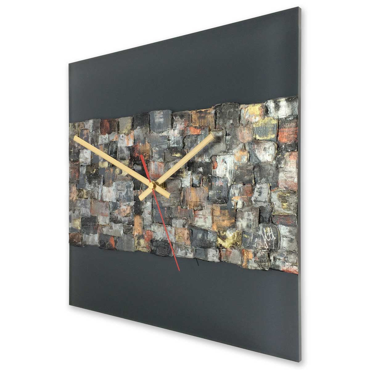 Square 30cm wall clock on anthracite grey plexiglass - JLH30SQ1