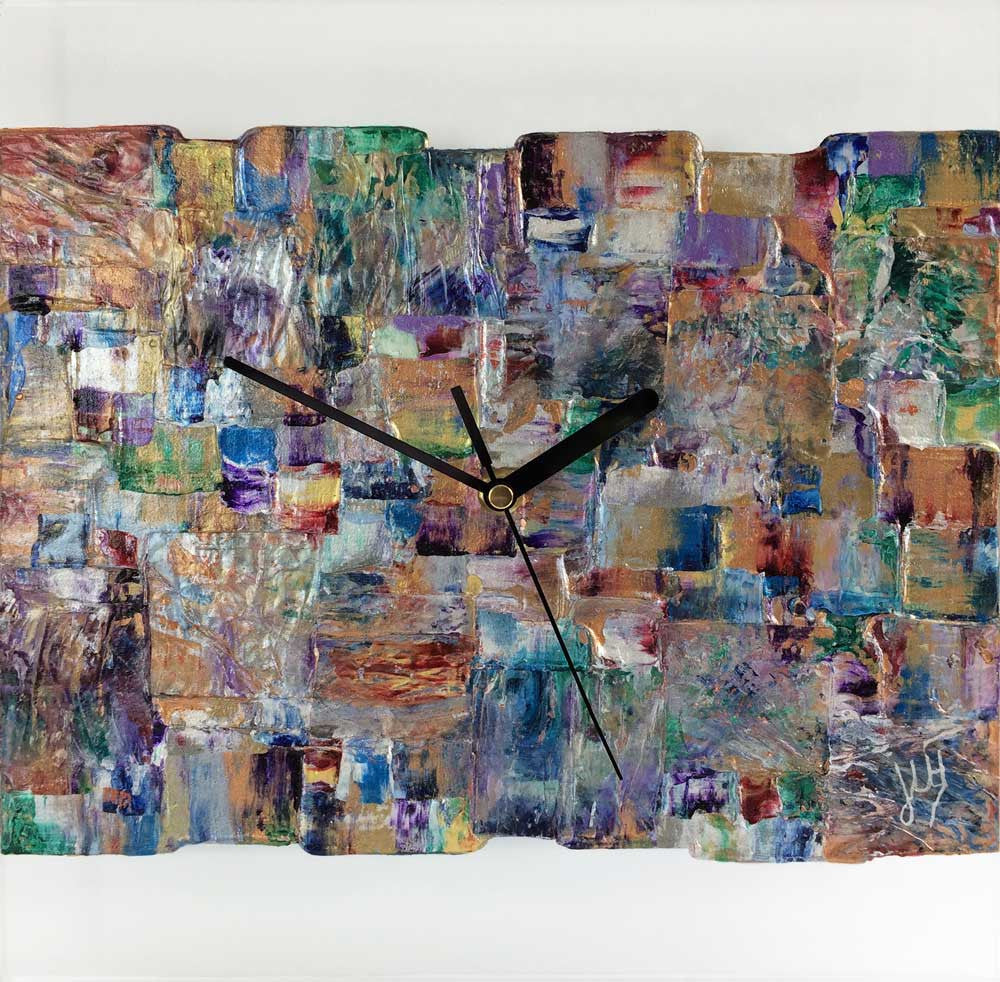 Square 30cm abstract wall clock on clear plexiglass - JLH30SQ2