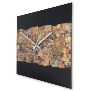 Square 30cm abstract wall clock on black plexiglass - JLH30SQ3
