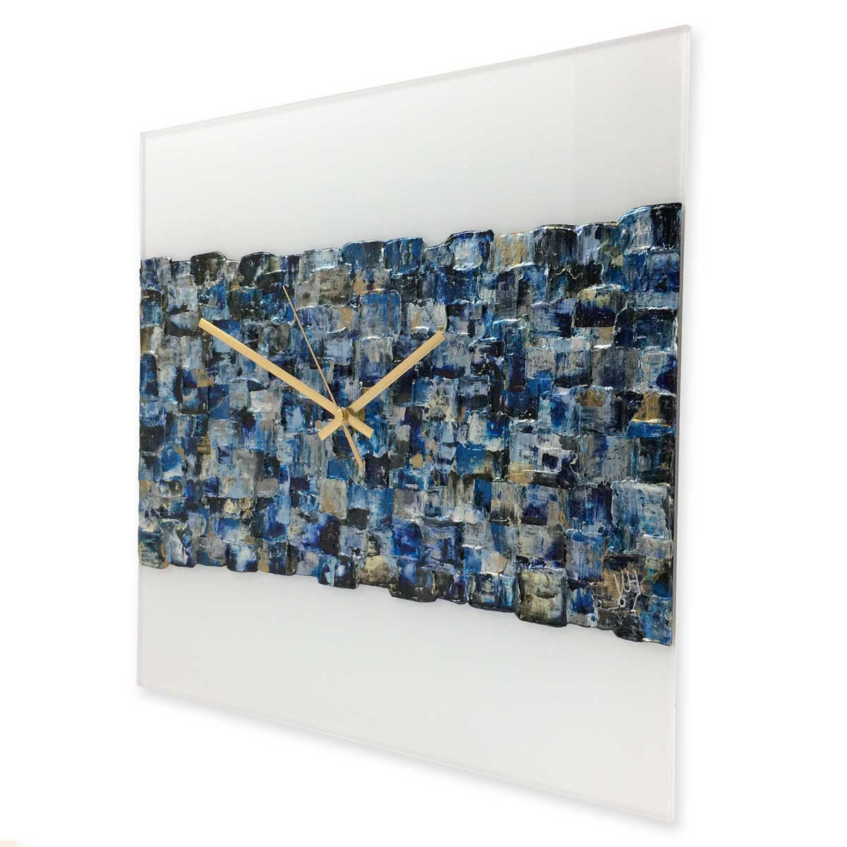 Square 40cm abstract wall clock on white plexiglass - JLH40SQ1
