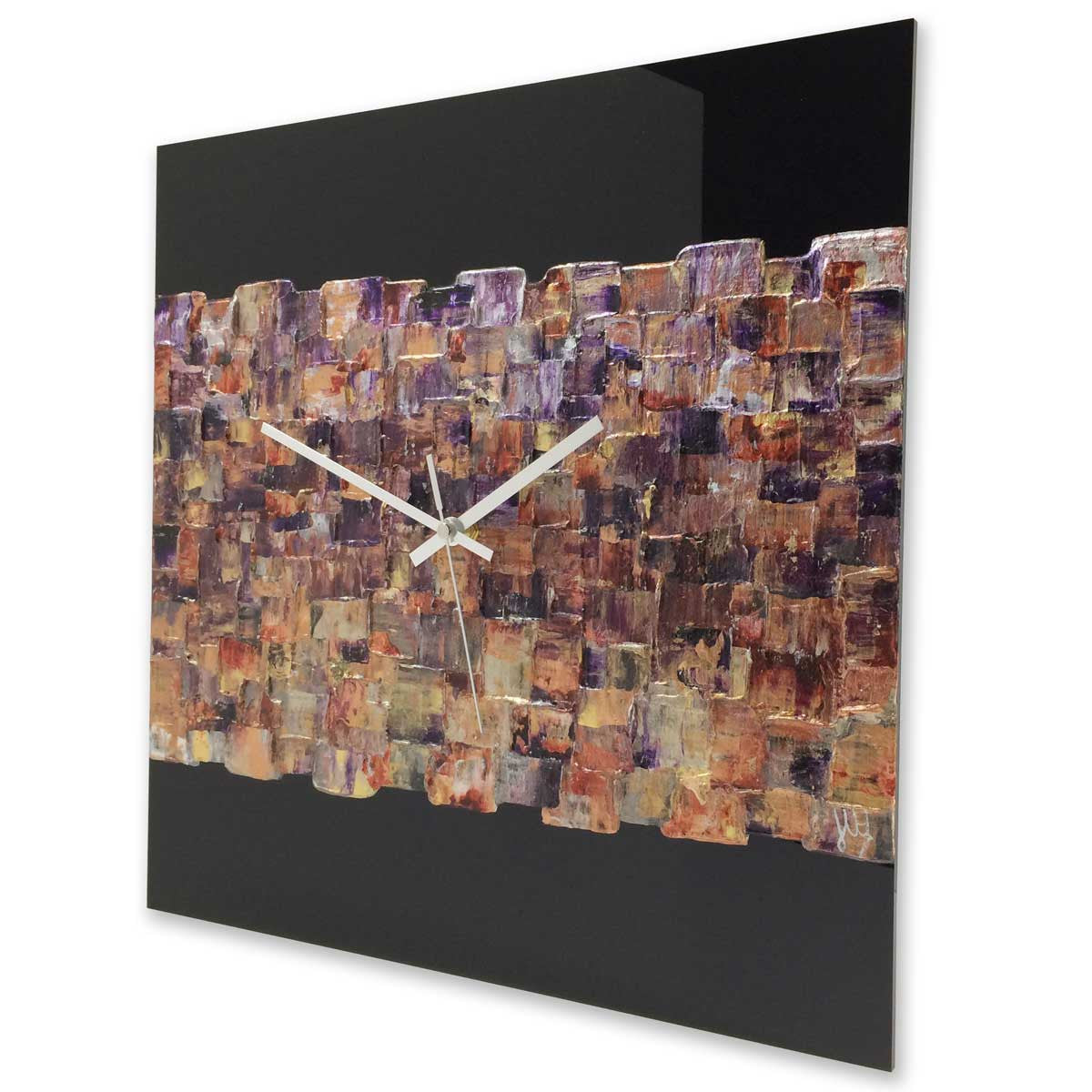 Square 40cm abstract wall clock on black plexiglass - JLH40SQ2