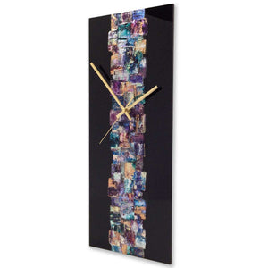 Rectangular contemporary abstract wall clock on black plexiglass - JLH5020REC1