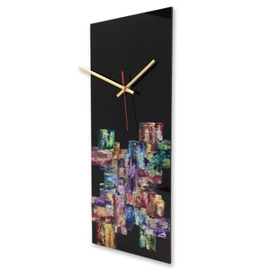 Rectangular abstract wall clock on black plexiglass - JLH5020REC2
