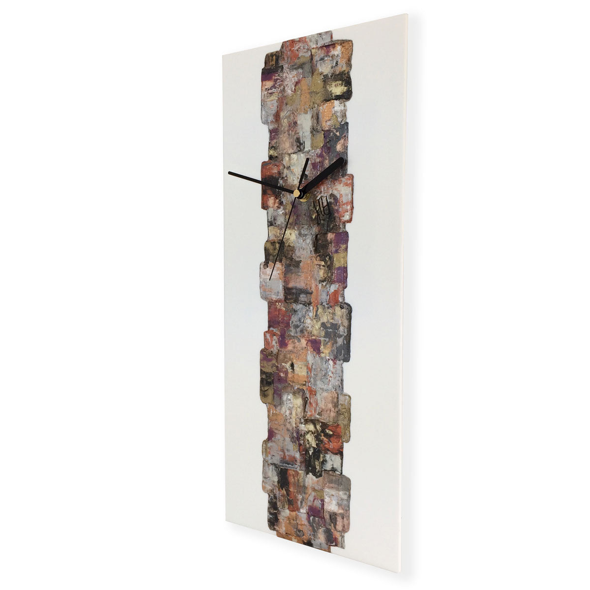 Designer hand-painted rectangular wall clock