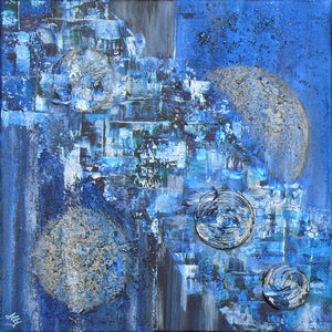 'Moonriver' abstract art on box canvas
