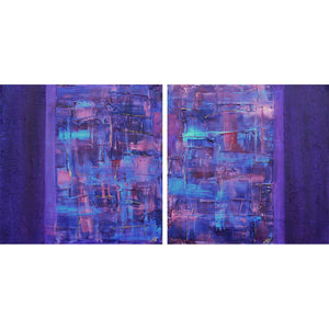 'Motion' abstract diptych painting on canvas