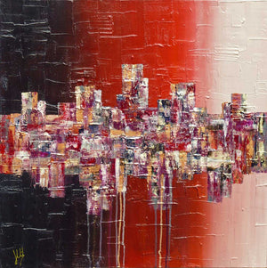 'Night Life' square abstract art on canvas