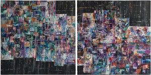 Abstract diptych painting on canvas in purple, green, blue, red, copper & gold on black