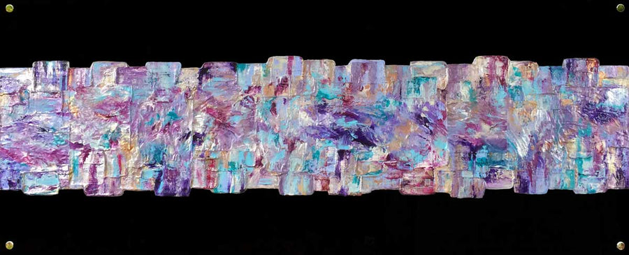 'Simply Happy' - contemporary, textured abstract painting on black plexiglass (perspex glass)