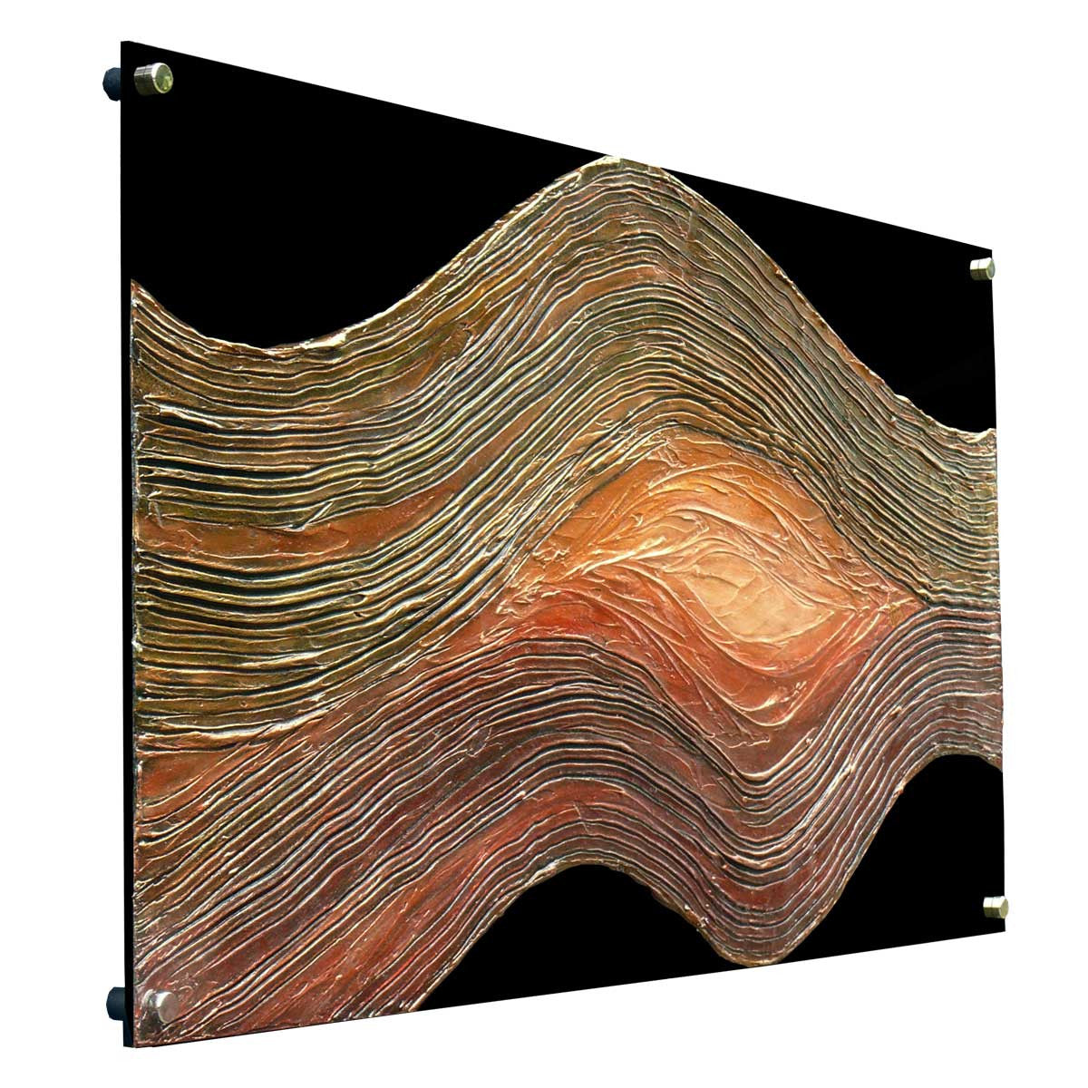 'Soul Wave' curved abstract art on black plexiglass