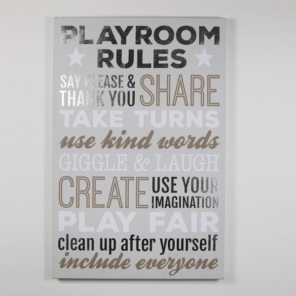 Playroom Rules - Silver/Grey