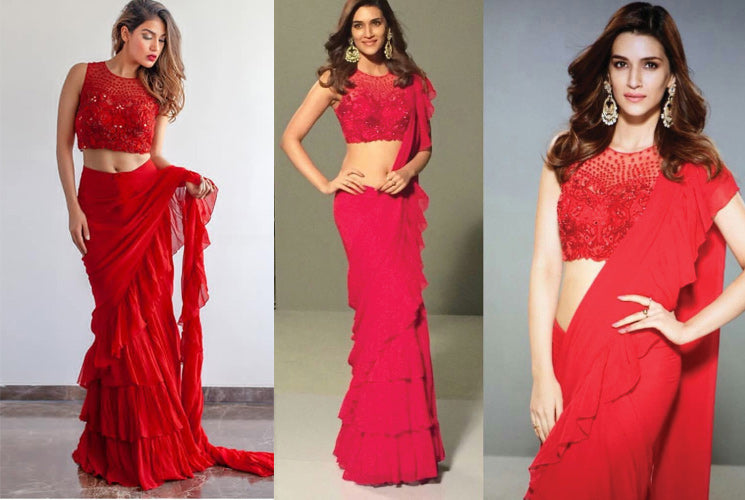Ruffle Saree Style is the Hottest Trend of this Season!!Links to Buy Inside.
