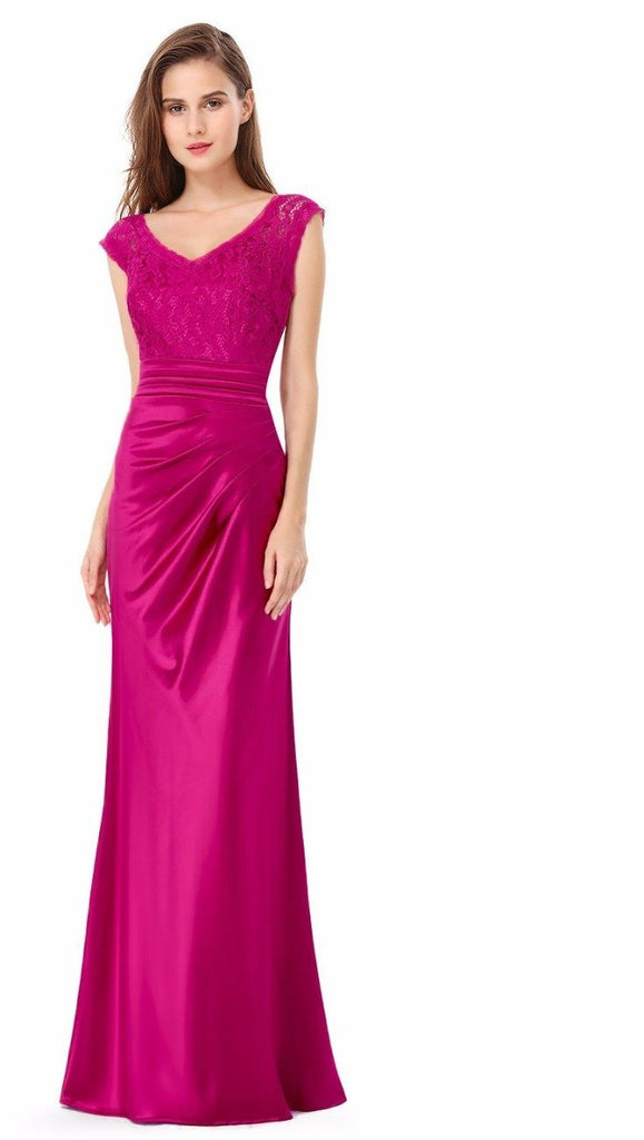 Clemonte fuschia pink satin lace gown