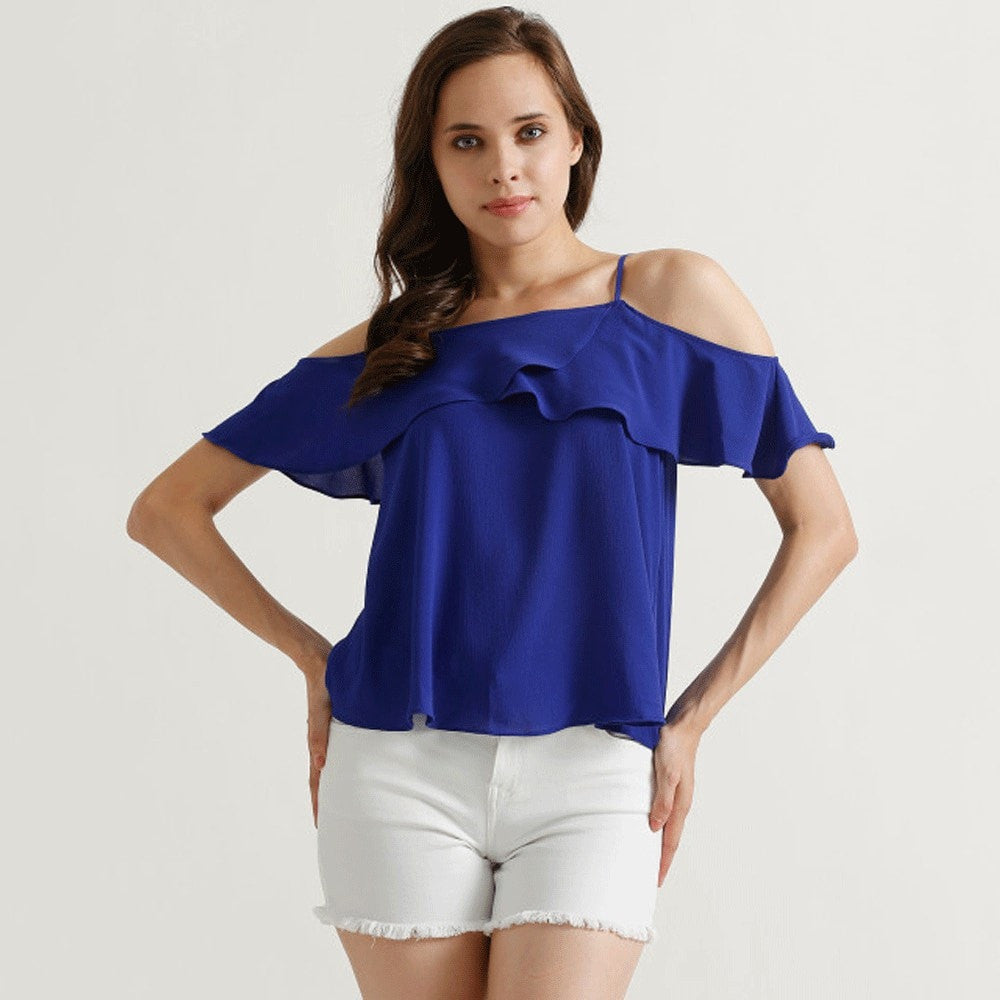 Clemonte BLUE Polyester cold shoulder top