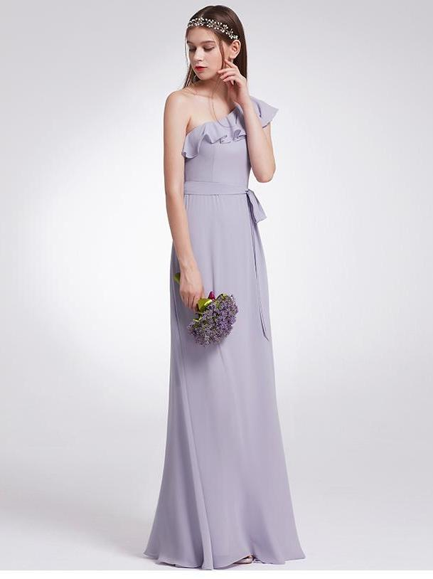 Clemonte Long one shoulder Ruffles chiffon gown - Lavender