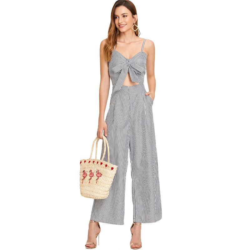 Clemonte Cut Out Knot Front Blue Striped Jumpsuit