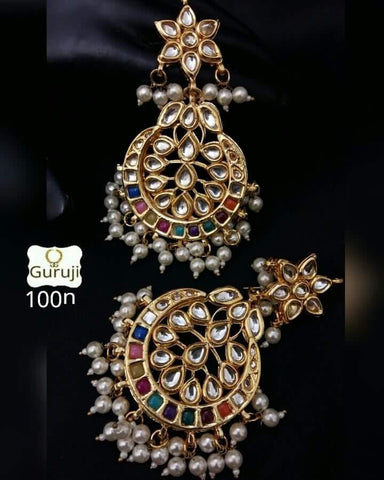 Clemonte Viraasat Jewels - Multi-Stone Chaand Earrings
