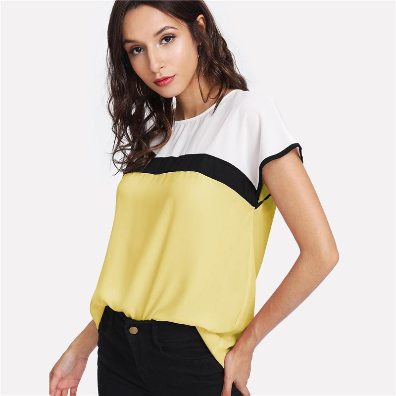 Clemonte Color block yellow white top