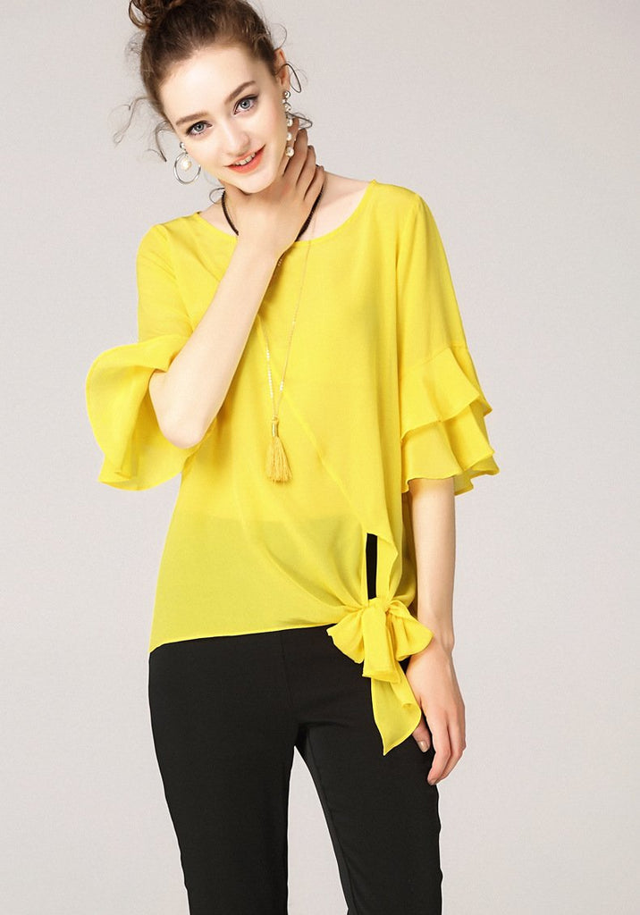 Clemonte flare sleeves tie up top -  yellow