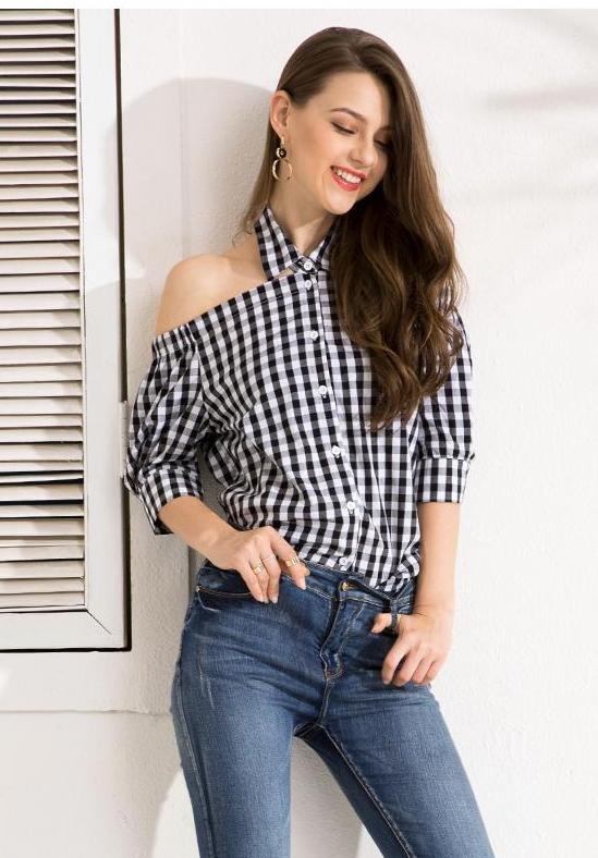 Clemonte Gingham off shoulder plaid Black Blouse