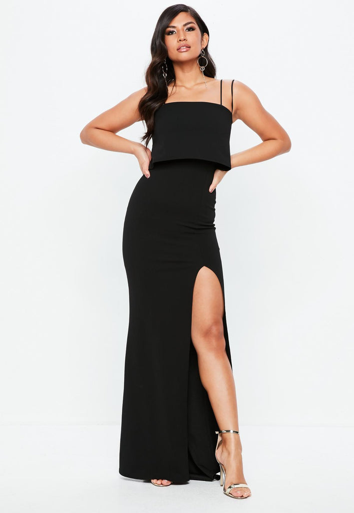 Clemonte black square neck overlay maxi dress