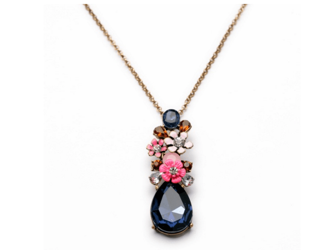 Clemonte Crystal Sapphire Flower cluster necklace for women