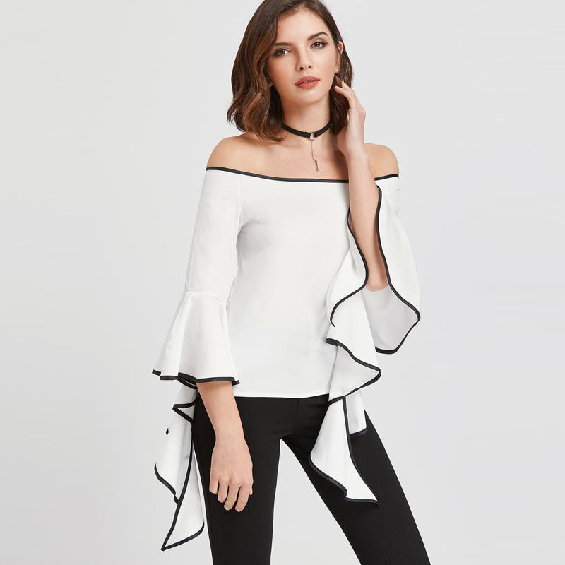 Clemonte Contrast trim flared sleeve white bardot top